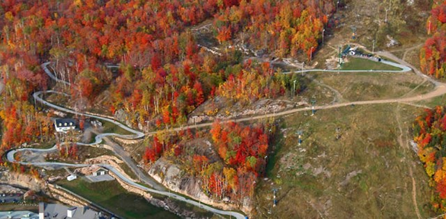 Aerial view of the Skyline Luge Mont Tremblant Luge tracks in autumn.
